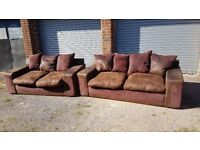 Lovely brown suede sofa suite ,3 and 2 seaters ,few minor marks around,can deliver