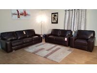Ex-display Natuzzi Edition Chatsworth brown leather 3+2 seater sofas and armchair