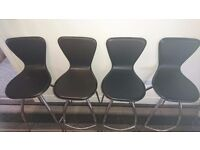 Real black leather bar stools with chrome finish