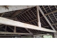 large pine beams or trusses ,11 by 6 inches over 9 meters long