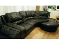 Leather corner sofa, chair and crescent pouffe