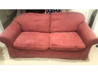 2 comfy red 3 seater sofas for sale