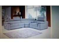 Modern Light Grey Leather Corner Sofa Right Hand
