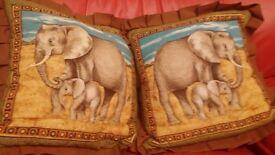 Handmade Elephant cushions x2 Brown