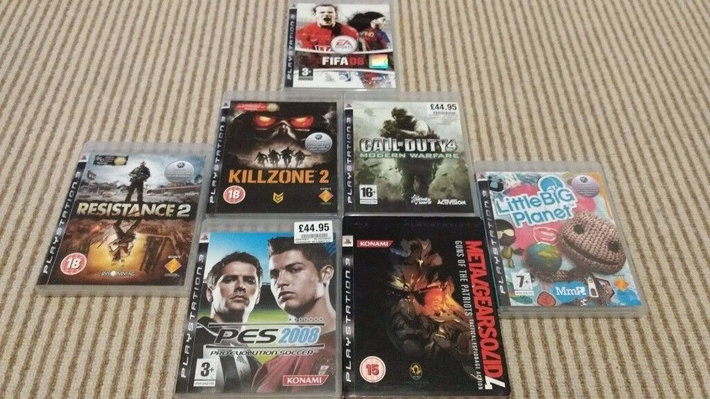 PS3 Playstation Bundle Job Lot - 7 Games inc MGS4, LBP, Resistance 2, Killzone 2