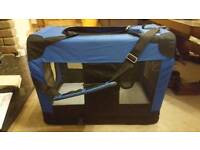 Portable folding blue fabric pet carrier