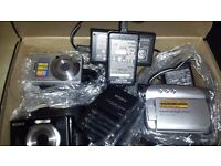 Sony photo cameras and a hand camera for sale.