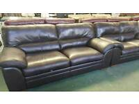 Real leather brown 3+2 seater reclining sofa