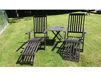 Two Garden steamer lounge chairs with drinks table - dark brown