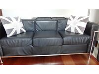 Le Corbusier 3 seater black leather sofa