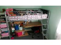 Metal bunk bed with desk unit