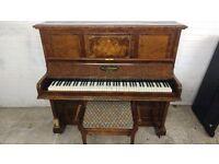 Beautiul Walnut 'Sanderson' Upright Console Piano & Stool - CAN DELIVER