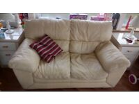 DFS cream two seater settee & chair