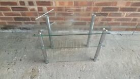 3 TIER CLEAR GLASS T.V. STAND