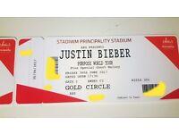 2 x Justin Bieber tickets - Gold Circle Cardiff Principality Stadium