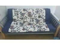 Futon - Metal and Wood frame and mattress