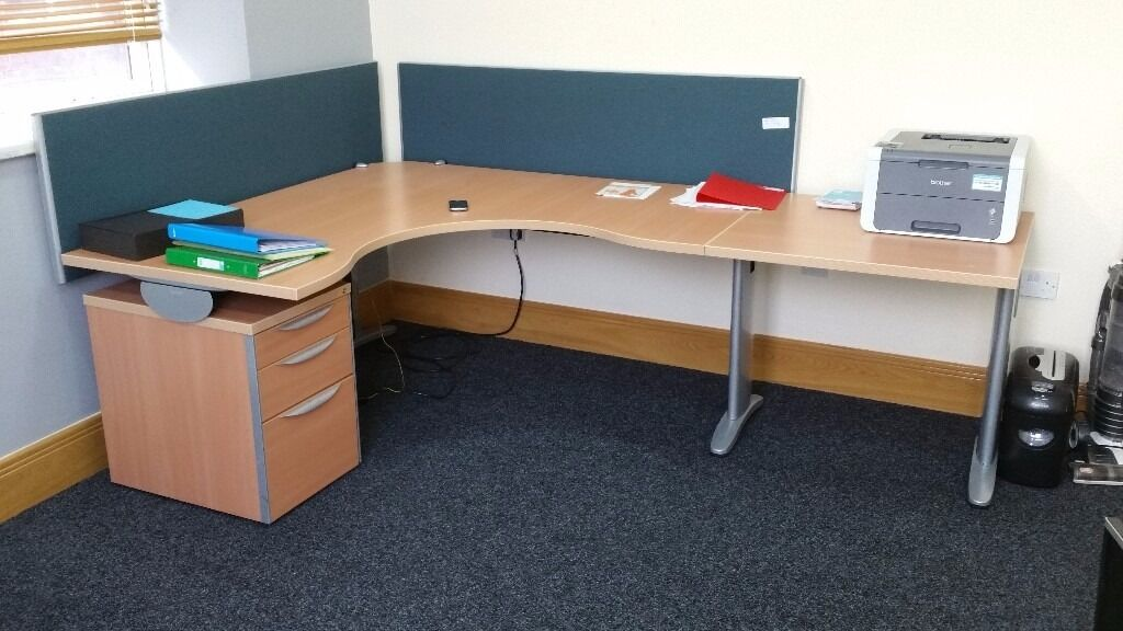 Office Desk With Sound Proof Dividers Pedestal Extension
