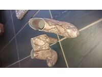Snake pattern, real leather size 3 once worn low boots