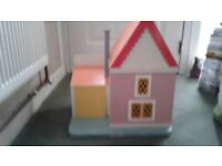 Solid Wooden Dolls House With Lift Up Garage Door, Dolls & Furniture