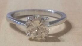 18ct white gold 1.56ct solitaire diamond engagement ring & £18,000 valuation certificate