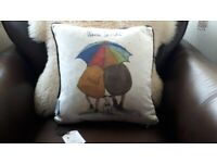 'Warm Inside' Duck Feather Filled Cushion BNWT