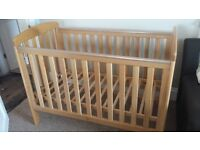 Baby Cot - Mamas And Papas Solid Oak Sherwood Cot