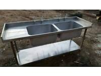 Double stainless steel sink with left hand drainer