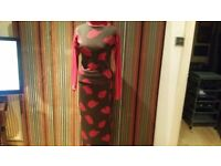 RED OR DEAD Vintage Knitted Body Con Designer Maxi Ensemble . Rare. Size : S /M