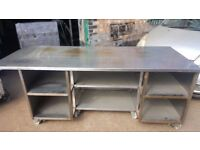 COMMERCIAL CATERING EQUIPMENT STAINLESS STEEL WORK TOP WITH SHELVES UNDER TABLE ON WHEELS 2.19M