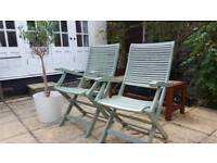 x2 Vintage solid wooded chairs RRP £169 + free parasol