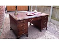Large Antique Reproduction Desk with Leather Inlay Inset Top Oak Mahogany