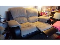 TWO SEATER RECLINER SOFA - LESS THAN A YEAR OLD