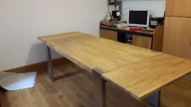 Oak and Stainless Steel Dining Table - perfect for Christmas entertaining seat up to 12