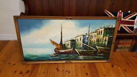 huge oil painting in ornate gold frame, signed
