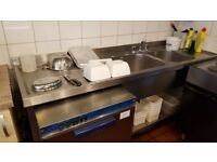 Double Bowl Stainless Steel Commercial Sink with Water Heater and Specialised Taps