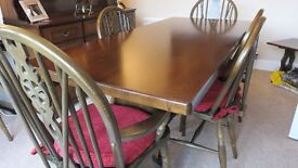 Dining table, 6 chairs and dresser and small occasional table