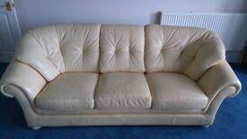 Cream leather sofa - 3 seater