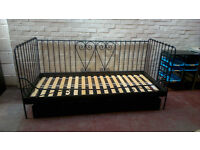IKEA black metal framed day bed
