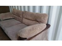 STYLISH MATCHING WYVERN 3 & 2 BROWN CORD SOFAS FOR SALE.
