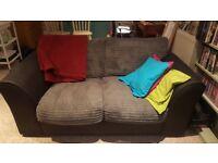 2 Seater Grey corduroy sofa