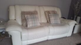 2 x White genuine leather sofas with full reclining seats