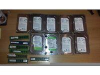 HDD drives 8 x 500GB, 1 x 2 TB and RAM DDR3 1 x 8GB, 3 x 4GB, 1 X 2GB, 2 x 1GB pc parts