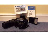 Chinon CE-5 SLR film camera plus accessories