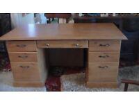 Large teak effect office desk in excellent condition
