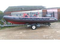 5.8 Narwhal Rib with 75hp Mercury/Force outboard with electric start and power trim and tilt