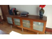 Next sideboard, frosted glass doors. Shelved. Looks great.