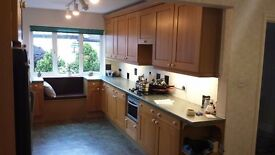 Solid Oak Kitchen with Worktops, Gas Hob, Shelves etc.
