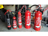 Five fire extinguishers, 3 x CO2 and 2 x Water