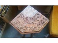 Small, ornate, highly carved, Indian, corner table. Very unusual! Genuine Vintage