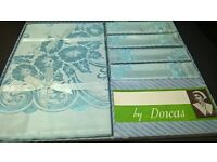 ARCTIC BLUE DAMASK TABLECLOTH XMAS DECOARTION VINTAGE BOXED AS NEW